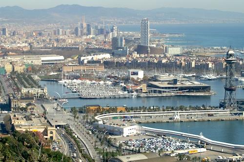 A view of Port Vell in Barcelona from Montjuïc. Courtesy of David Merrett.