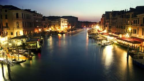 Venice's grand canal at night. Courtesy of Kosala Bandara.