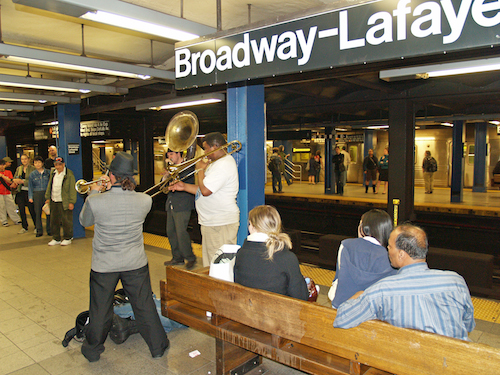 On New York's subway platforms, the musicians almost make up for that questionable smell. Almost. Photo by David Shankbone/Wikipedia.