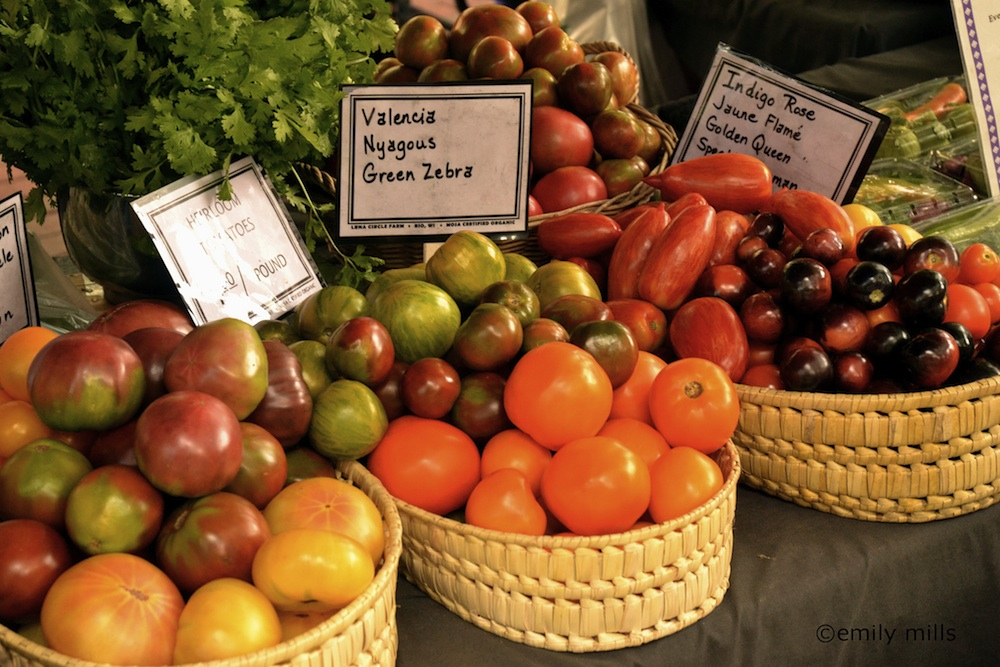 Heirloom tomatoes at Dane County Farmers Market. Courtesy of Emily Mills.
