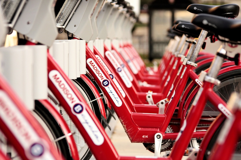 A row of Madison B-cycles near University of Wisconsin's campus. Courtesy of Phil Roeder.