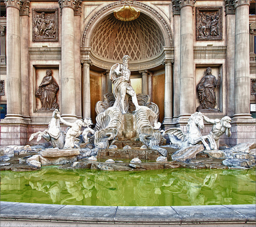 Trevi Fountain replica at Caesars Palace in Las Vegas. Credit Bert Kaufmann/Flickr.