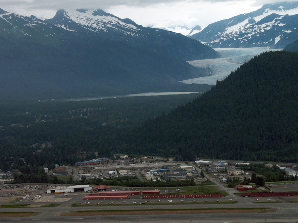 The Mendenhall Glacier and Juneau airport. Courtesy of Sam Beebe.