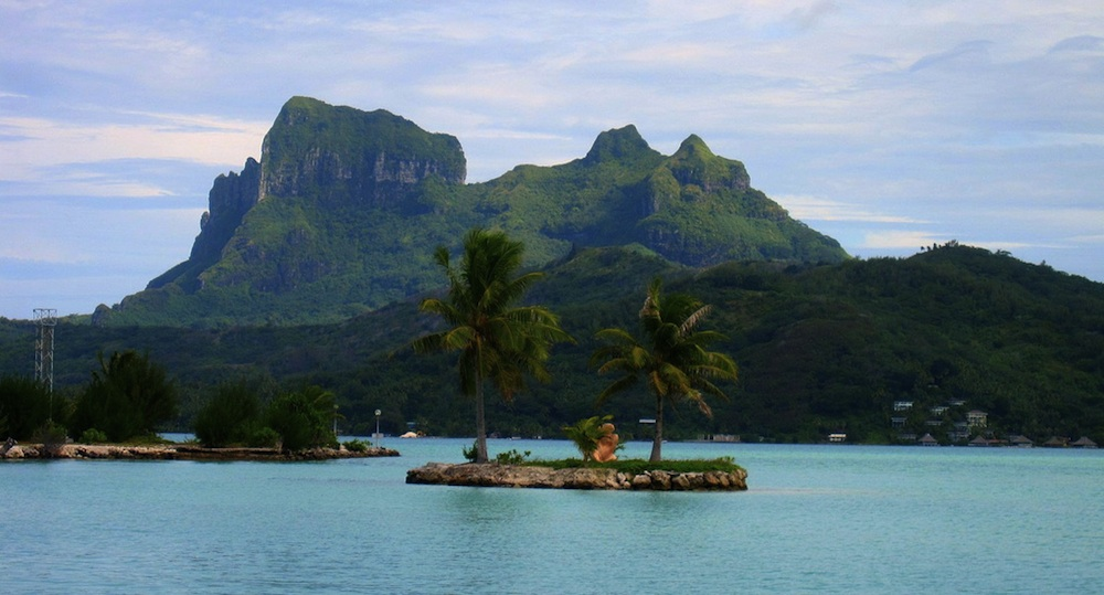 A look at Bora Bora's main island from the airport. Courtesy of Michael Stout.
