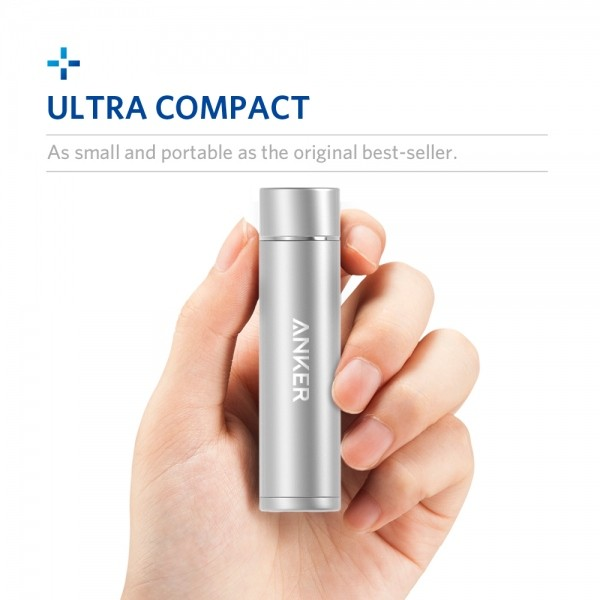 anker portable charger, ultra compact silver