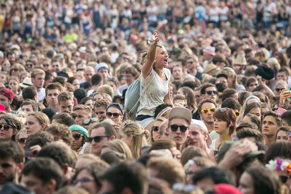 Outdoor concert crowd