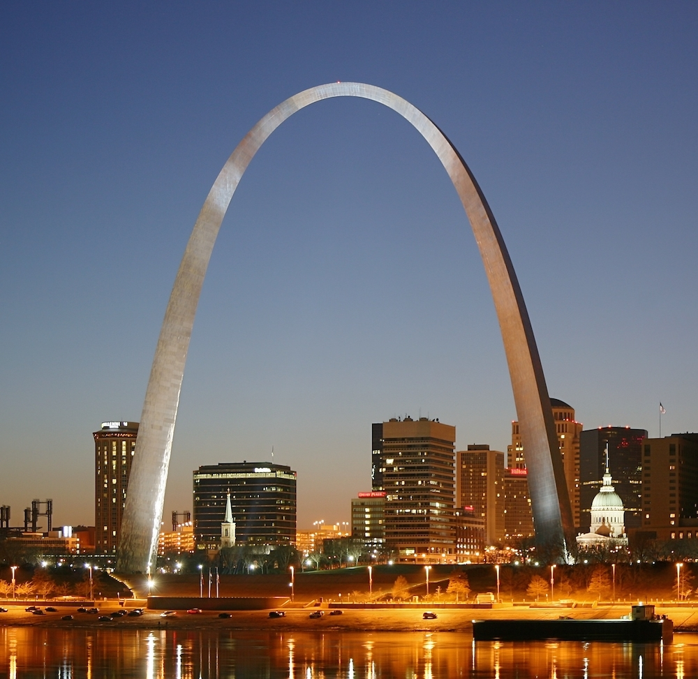 St. Louis's iconic Gateway Arch overlooks the Mississippi River. Credit Wikipedia.
