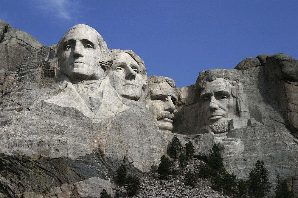 Can you name all four presidents on Mount Rushmore? Credit Dean Franklin/Wikipedia.