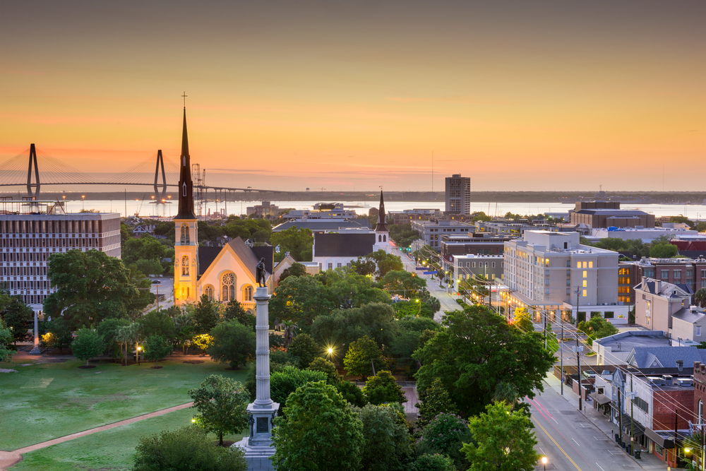 Charleston skyline at sunset