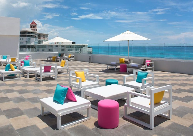Cool Cancun hotels you can actually afford - Aloft Cancun's patio