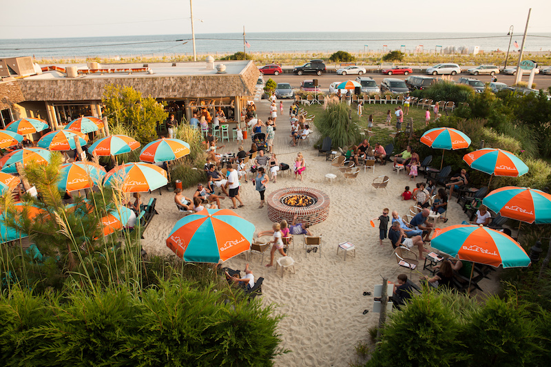 An aerial shot of The Rusty Nail, our pick for the best beach bar in New Jersey.