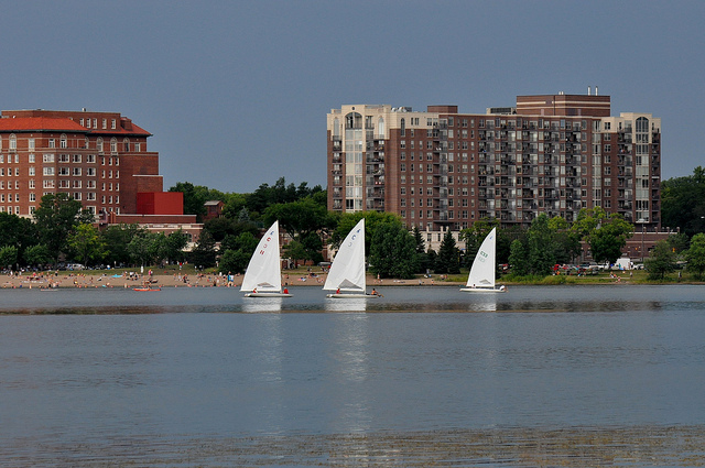 Minneapolis Chain of Lakes Regional Park often sees many sailboats during summer months