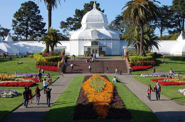 A garden and conservatory in San Francisco's Golden Gate Park