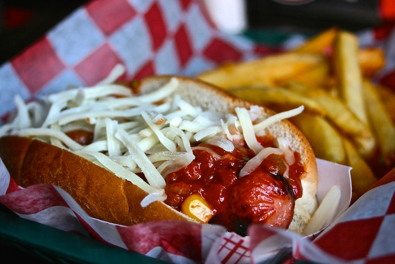 Chili Cheese Mad Dog, one of the best hot dogs in America