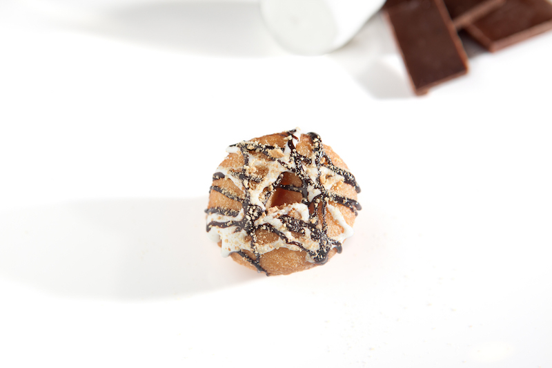 Beavers Donuts' version of s'mores desserts: tiny donuts covered in marshmallow, chocolate sauce and graham cracker dust.