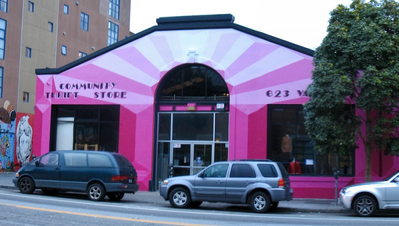The vibrant, pink exterior of Community Thrift in San Francisco, one of the best thrift stores in America.