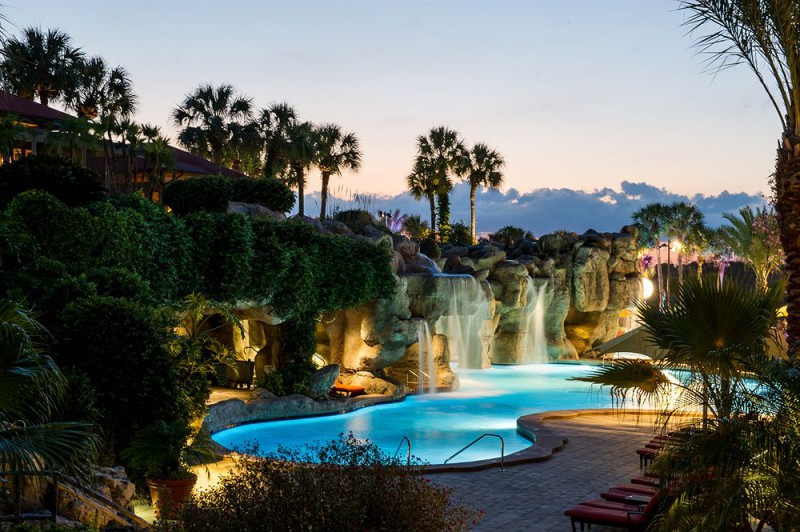 This waterfall pool sets Hyatt Regency apart among the cool Orlando hotels.
