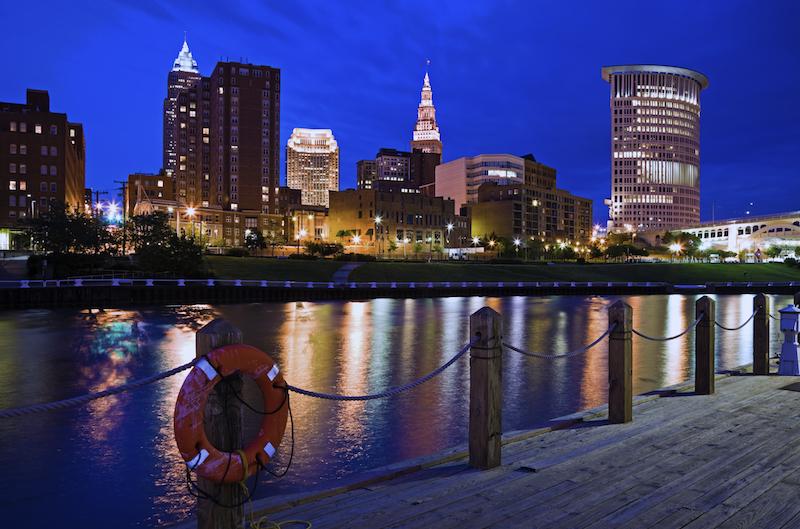 The night skyline of Cleveland, Ohio