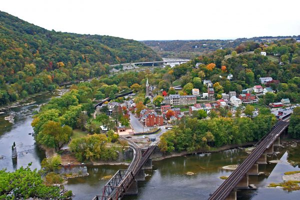 View of Harpers Ferry taken from the Maryland Heights trail overlook. Photo credit: Wild, Wonderful West Virginia.