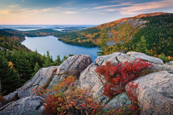 This fall hike yields stunning views of Jordan Pond in Acadia National Park.