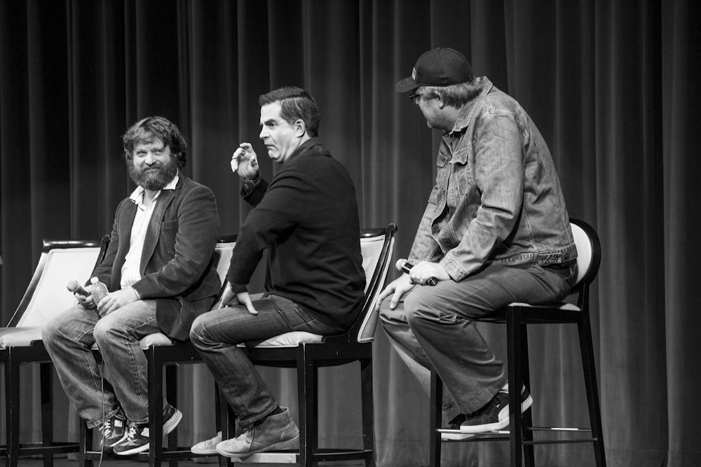 Zach Galifianakis, Todd Glass and Steve Agee yuk it up on a recording of Doug Loves Movies during the 2012 Los Angeles Podcast Festival. Credit CleftClips/Flickr.