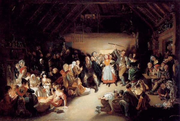 Snap-Apple Night, painted by Irish artist Daniel Maclise in 1833, inspired by a Halloween party he attended in Blarney, Ireland, in 1832. [Public domain], via Wikimedia Commons