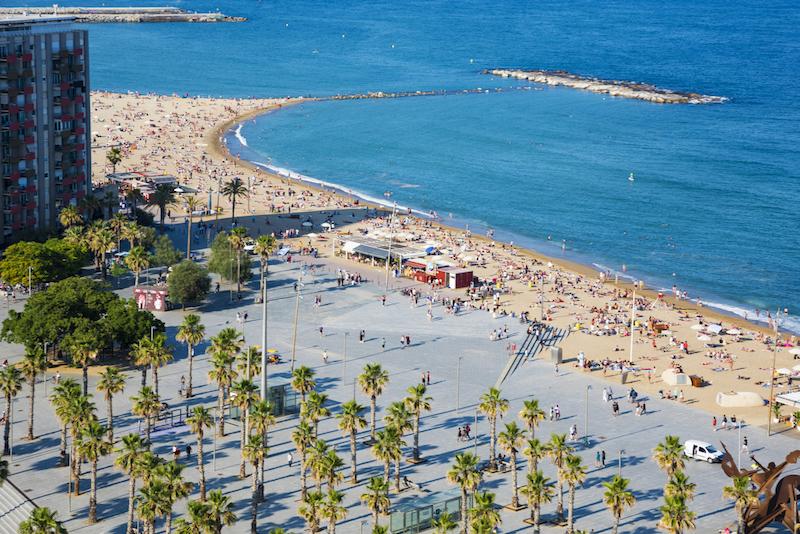 Barceloneta beach ariel view