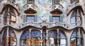 Casa Batllo, detail of facade, Barcelona, Spain