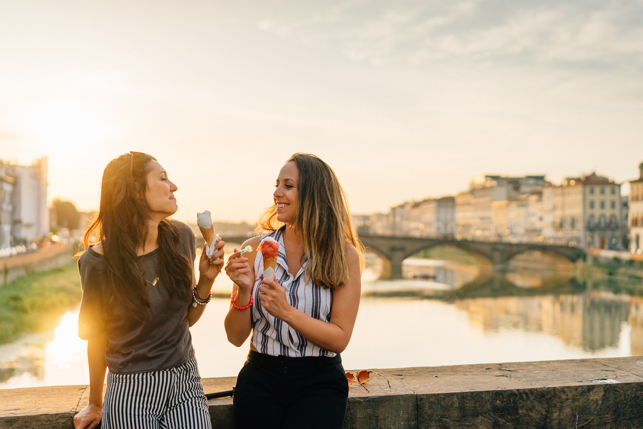 Young Friends Portrait While Eating Ice-Cream
