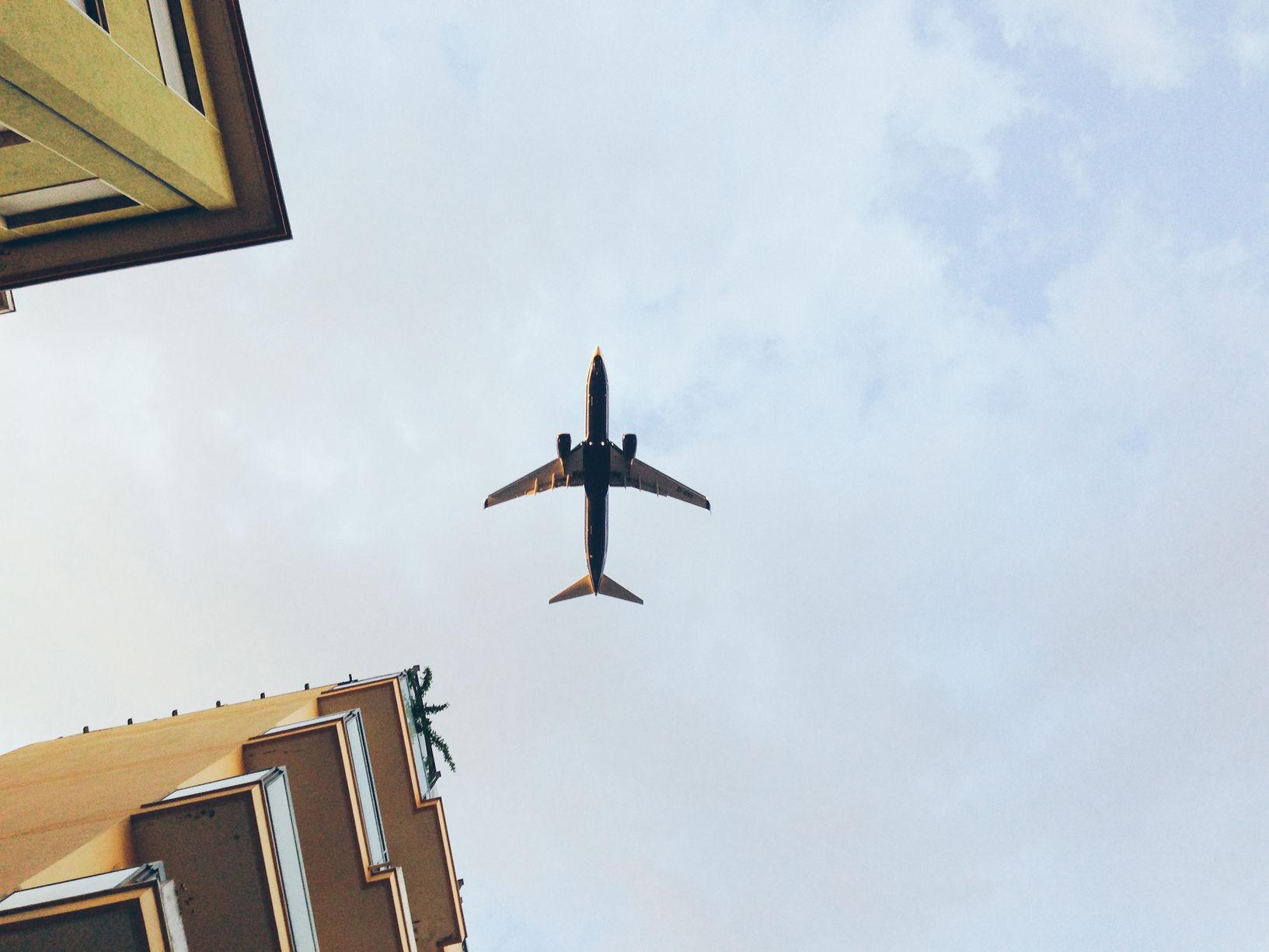 Airplane landing in Pescara (Italy) airport