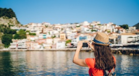 Taking photos of Greek coastal town
