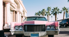 Parked Vintage Pink Car In Las Vegas Seeing From The Front