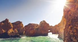 ponta da piedade rocks at algarve coastline in portugal.