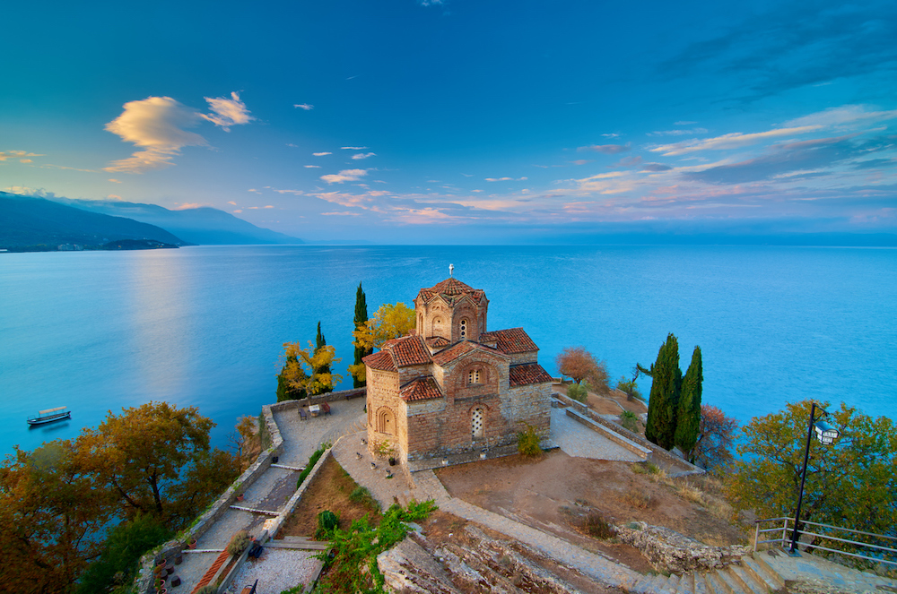 Breathtaking view of Saint John at Kaneo in the morning. It's a Macedonian Orthodox church situated on the cliff over Kaneo Beach overlooking Lake Ohrid in the city of Ohrid, Republic of Macedonia.