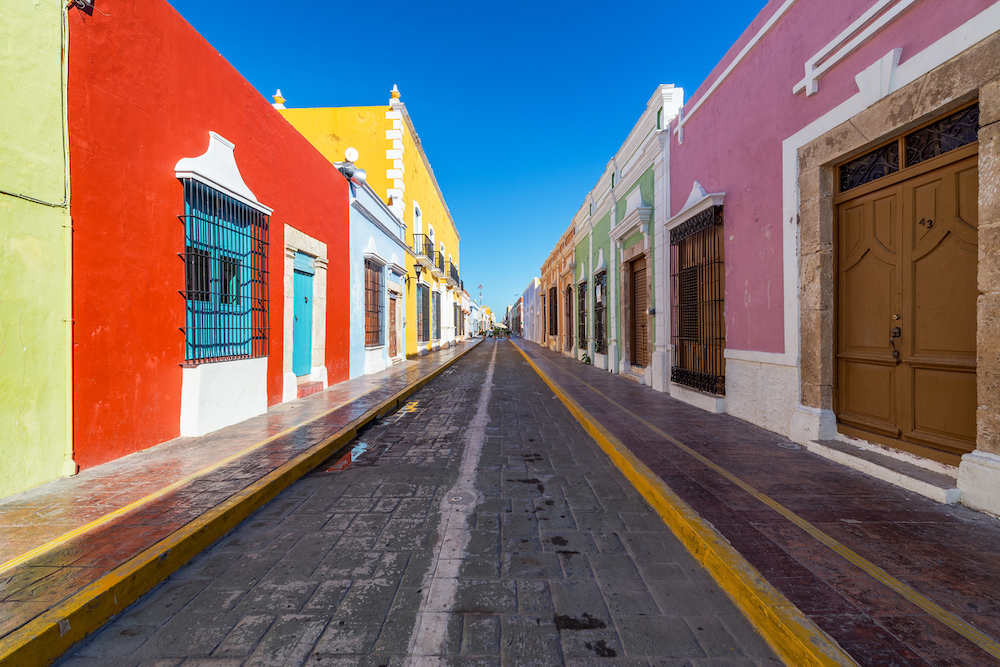 Colorful empty colonial street in the historic center of Campeche, Mexico