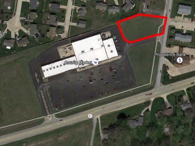 Winfield Plaza ariel view with Outlot A outlined in red.
