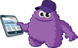 Monster with hat and tablet