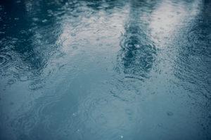 Water surface during rain.