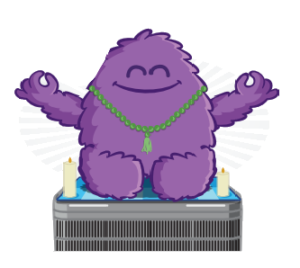 Happy monster meditating on HVAC unit