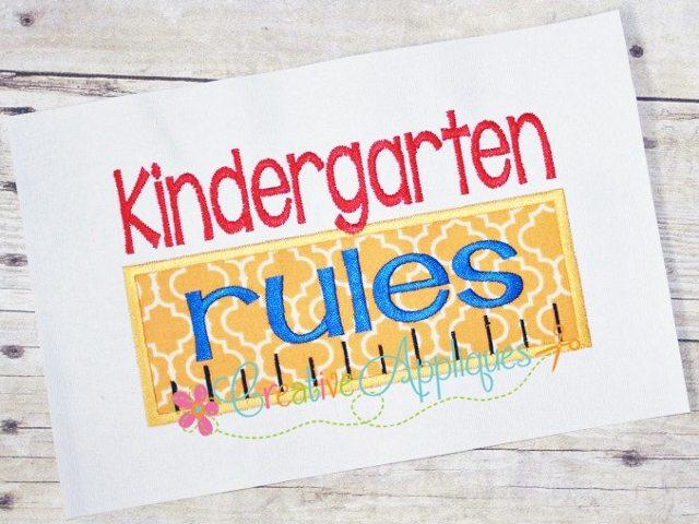 Kindergarten rules applique creative appliques