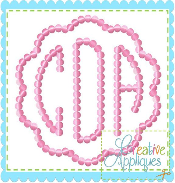 Natural Circle Beaded Dot Dotted Monogram Embroidery Alphabet Font Creative Appliques