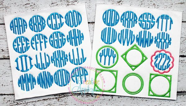 Natural Circle 4 Letter Monogram Embroidery Alphabet Font Creative Appliques