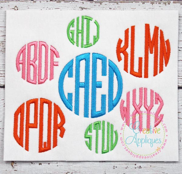 letter circle monogram by craftylittlenodes circle 4 letter monogram embroidery alphabet font 4
