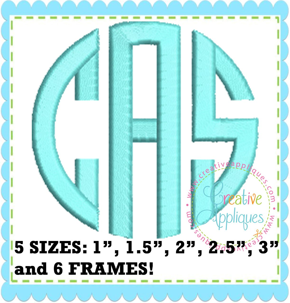 Natural Circle Monogram Embroidery Alphabet Font Creative Appliques