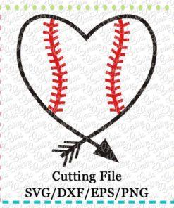 baseball--softball-heart-arrow-cutting-file-svg