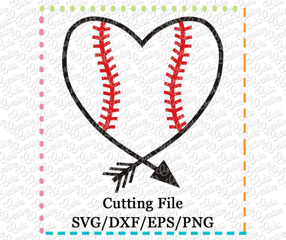 baseball heart arrow svg dxf eps