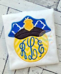police-hat-monogram-embroidery-applique-design