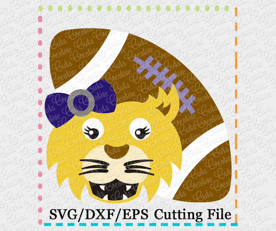 wildcat girl football cutting file svg dxf eps
