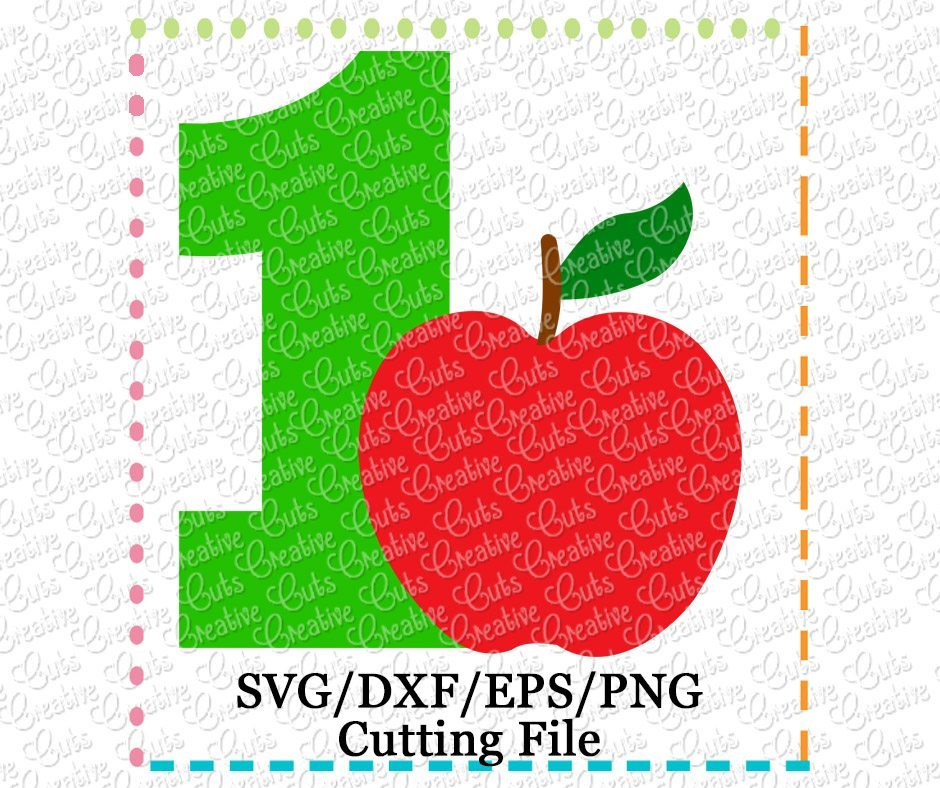 Apple 1 First Birthday Cutting File Svg Dxf Eps Creative Appliques