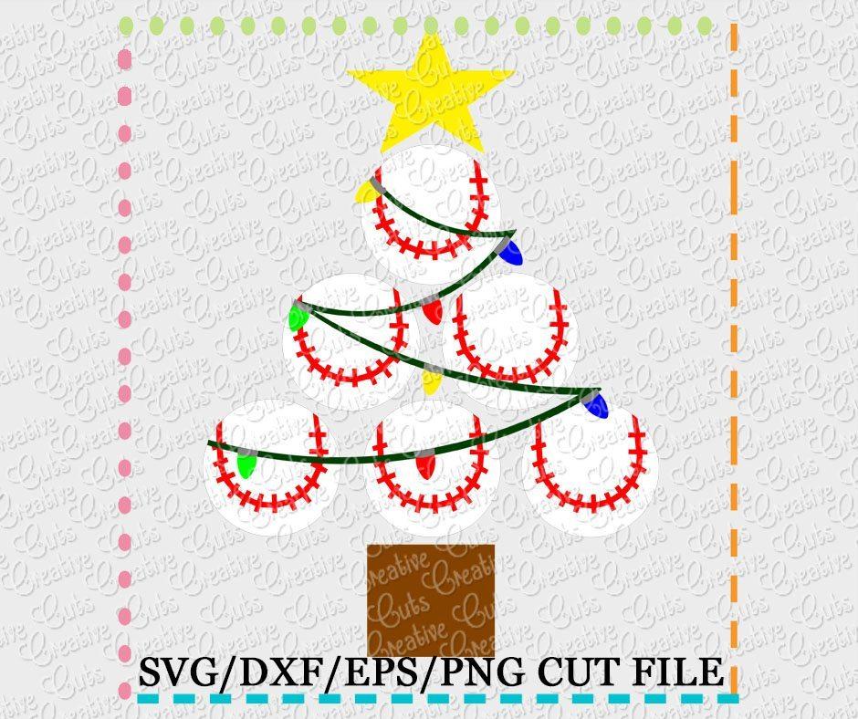 Baseball Softball Christmas Tree Cut File Svg Dxf Eps Creative Appliques
